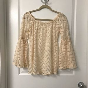 Tops - Off the shoulder herringbone Top